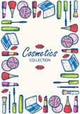 Cosmetics collection. Eye shadow, mascara, blush, pencil for eyes. Royalty Free Stock Image