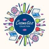 Cosmetics collection. Eye shadow, mascara, blush, pencil for eyes. Stock Photos
