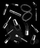 Cosmetics collection. Vector fashion set. Hand drawn graphic lips, eye, heels, mascara, lipstick, nail polish. Stock Photos