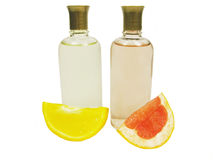 Cosmetics colognes with citrus extracts. Cosmetics colognes with orange and grapefruit extracts Stock Image