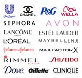 Cosmetics companies logos. High quality logo collection set of the biggest cosmetics related companies in the world - isolated on white background. Best quality Royalty Free Stock Photography