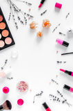 Cosmetics composition with palette and lavender top view mock up Stock Image