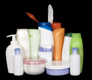 Cosmetics containers Stock Images