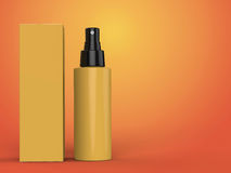 Cosmetics containers, bottle with package on colorful background. 3d illustration. Cosmetics containers, yellow bottle with package on colorful background. 3d Stock Photography
