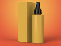 Cosmetics containers, bottle with package on colorful background. 3d illustration. Cosmetics containers, yellow bottle with package on colorful background. 3d Royalty Free Stock Photography