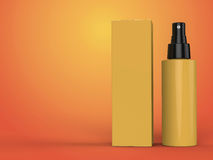 Cosmetics containers, bottle with package on colorful background. 3d illustration. Cosmetics containers, yellow bottle with package on colorful background. 3d Royalty Free Stock Images