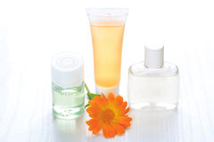 Cosmetics containers, still life. Stock Photos