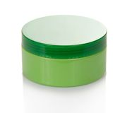 Cosmetics cream in the green jar Stock Photos
