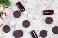 Cosmetics cream lotions cookies Royalty Free Stock Photography