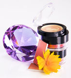 Cosmetics with a crystal Royalty Free Stock Image
