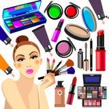 Cosmetics design glamour brush care skin beautiful face woman set Royalty Free Stock Photos