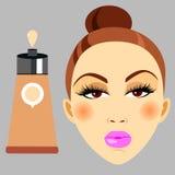 Cosmetics design glamour brush care skin beautiful face woman set Royalty Free Stock Photo