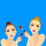 Cosmetics design glamour brush care skin beautiful face woman set Royalty Free Stock Image