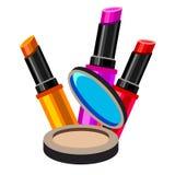 Cosmetics design glamour brush care skin beautiful face woman set Stock Photography