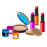 Cosmetics design glamour brush care skin beautiful face woman set Stock Photo