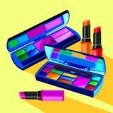 Cosmetics design glamour brush care skin beautiful face woman set Stock Image