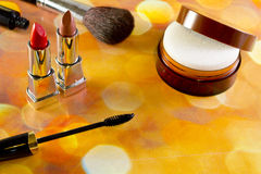 Cosmetics. Different cosmetics top view of a bright background Royalty Free Stock Photo