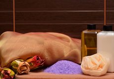 Cosmetics and equipment for spa Stock Photos