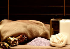 Cosmetics and equipment for spa Royalty Free Stock Photos