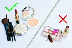Cosmetics expired. The use of cosmetics expired Stock Photos