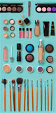 Cosmetics for facial makeup: brushes, powder, lipstick, eye shadow, trimmer and other accessories on blue background top. View. Beauty flat lay concept royalty free stock photo