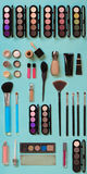 Cosmetics for facial makeup: brushes, powder, lipstick, eye shadow, trimmer and other accessories on blue background top. View. Beauty flat lay concept stock images