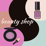 Cosmetics and fashion background with make up artist objects lipstick, brush. With place for your text .Template Vector. Royalty Free Stock Images