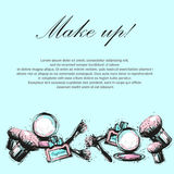 Cosmetics and fashion background with make up artist objects royalty free illustration