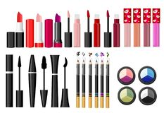 Cosmetics and fashion background with make up artist objects: lipstick, cream, brush. With place for your text .Template Vector. W vector illustration