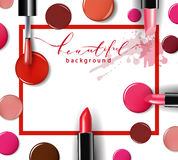 Cosmetics and fashion background with make up artist objects: lipstick, ip gloss, nail Polish. Template Vector. Stock Photos
