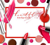 Cosmetics and fashion background with make up artist objects: lipstick, ip gloss, nail Polish. Template Vector. Royalty Free Stock Photo