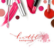 Cosmetics and fashion background with make up artist objects: lipstick, ip gloss, nail Polish. Template Vector. Stock Images