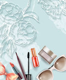 Cosmetics and fashion background with make up artist objects.Template Vector. Stock Images