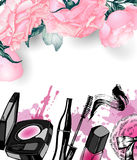 Cosmetics and fashion background with make up artist objects. Template Vector. Royalty Free Stock Images