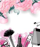 Cosmetics and fashion background with make up artist objects . Template Vector. Stock Photography