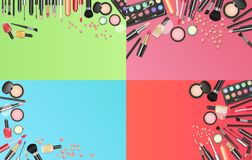 Cosmetics fashion background with make up artist tools. Place your text template vector illustration. stock illustration