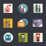 Cosmetics flat icon set. Vector illustration Royalty Free Stock Image