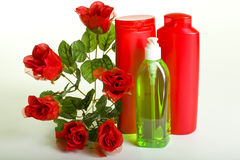 Cosmetics with Flowers Stock Image