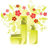 Cosmetics and flowers Stock Photography