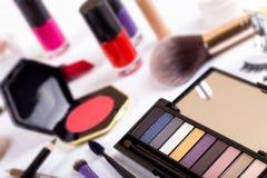 Cosmetics - focus on eyeshadows palette Stock Photography