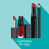 Cosmetics For Lips Style Flat Stock Image
