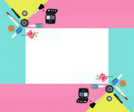 Cosmetics frame in white background Stock Photos