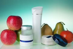 Cosmetics and fruits Stock Photo