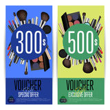 Cosmetics Gift Vouchers with Prepaid Sum Template. Cosmetics gift voucher template. Colorful coupon with different makeup accessories and prepaid sum. Brush Stock Image