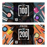 Cosmetics Gift Vouchers with Prepaid Sum Template. Cosmetics gift voucher template. Gift coupon with fashion makeup accessories and prepaid sum. Makeup brush Stock Image
