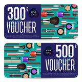 Cosmetics Gift Vouchers with Prepaid Sum Template. Cosmetics gift voucher template. Gift coupon with fashion makeup accessories and prepaid sum. Makeup brush Stock Photo