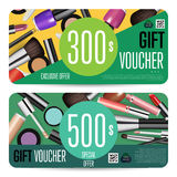 Cosmetics Gift Vouchers with Prepaid Sum Template. Cosmetics gift voucher template. Gift coupon with fashion makeup accessories and prepaid sum. Makeup brush Royalty Free Stock Image
