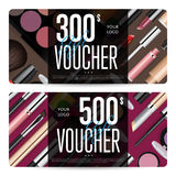 Cosmetics Gift Vouchers with Prepaid Sum Template. Cosmetics gift voucher template. Gift coupon with fashion makeup accessories and prepaid sum. Makeup brush Royalty Free Stock Photography