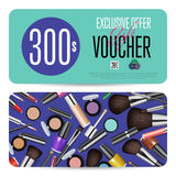 Cosmetics Gift Vouchers with Prepaid Sum Template. Cosmetics gift voucher template. Gift coupon with fashion makeup accessories and prepaid sum. Makeup brush Stock Photography