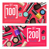 Cosmetics Gift Vouchers with Prepaid Sum Template. Cosmetics gift voucher template. Gift coupon with fashion makeup accessories and prepaid sum. Makeup brush Royalty Free Stock Images